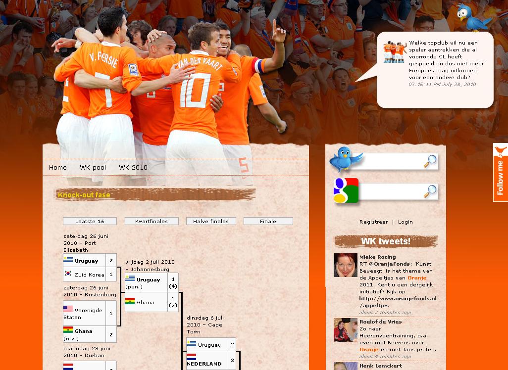 Oranje WK site 2010